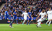 Riyad Mahrez of Leicester City watches as on as he scores the first goal during the Barclays Premier League match between Leicester City and Swansea City played at The King Power Stadium, Leicester on April 24th 2016