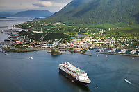 Aerial view of the Southeast Alaska coastal town of Sitka, located on Baranof Island, Inside passage.