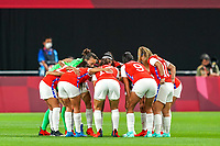 21st July 2021; Sapporo, Japan; Team Chile huddle prior to the womens Olympic Football Tournament Tokyo 2020 match between Great Britain and Chile at Sapporo Dome in Sapporo, Japan. Great Britain won the game by a score of 2-0