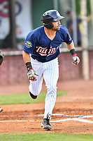 Elizabethton Twins third baseman Alex Robles (24) runs to first base during a game against the Kingsport Mets at Joe O'Brien Field on August 7, 2018 in Elizabethton, Tennessee. The Twins defeated the Mets 16-10. (Tony Farlow/Four Seam Images)