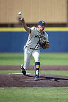 Michigan Wolverines pitcher Blake Beers (29) delivers a pitch to the plate against the Maryland Terrapins on May 23, 2021 in NCAA baseball action at Ray Fisher Stadium in Ann Arbor, Michigan. Maryland beat the Wolverines 7-3. (Andrew Woolley/Four Seam Images)