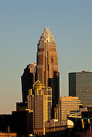 View of the Charlotte skyline after sunset in uptown Charlotte, NC.