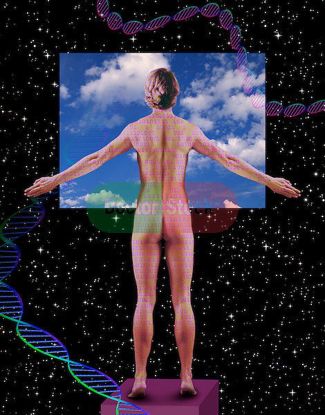 metaphoric composite photo illustration with icons of health including female figure with arms outstretched, DNA models and deep space imagery