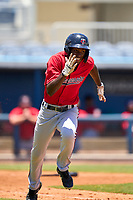 FCL Twins outfielder Luis Baez (11) runs to first base during a game against the FCL Rays on July 20, 2021 at Charlotte Sports Park in Port Charlotte, Florida.  (Mike Janes/Four Seam Images)