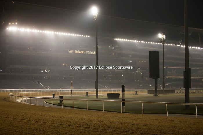 DUBAI,UNITED ARAB EMIRATES-MARCH 23: Meydan Racecourse stand at Meydan Racecourse on March 23,2017 in Dubai,United Arab Emirates (Photo by Kaz Ishida/Eclipse Sportswire/Getty Images)