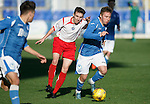 St Johnstone v Stranraer...01.11.15   Little Big Shot Youth Cup 3rd Round, McDiarmid Park, Perth<br /> Connor McLaren gets away from Kieran McLaughlin<br /> Picture by Graeme Hart.<br /> Copyright Perthshire Picture Agency<br /> Tel: 01738 623350  Mobile: 07990 594431
