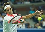 Roger Federer (SUI) defeats Steve Darcie (BEL) 6-1, 6-2, 6-1 at the US Open in Flushing, NY on September 3, 2015.