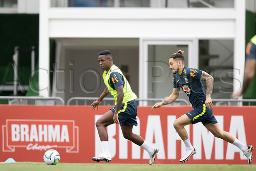 12th November 2020; Granja Comary, Teresopolis, Rio de Janeiro, Brazil; Qatar 2022 World Cup qualifiers; Alex Telles and Vinicius Jr. of Brazil during training session