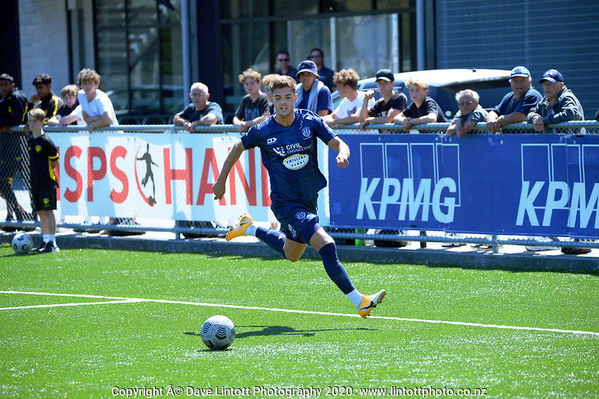 Action from the ISPS Handa Premiership football match between Wellington Phoenix Reserves and Auckland City FC at Fraser Park in Wellington, New Zealand on Saturday, 20 February 2021. Photo: Dave Lintott / lintottphoto.co.nz