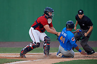 Potomac Nationals catcher Jakson Reetz (1) tags Wladimir Galindo (41) as umpire Josh Gilreath looks on during a Carolina League game against the Myrtle Beach Pelicans on August 14, 2019 at Northwest Federal Field at Pfitzner Stadium in Woodbridge, Virginia.  Potomac defeated Myrtle Beach 7-0.  (Mike Janes/Four Seam Images)
