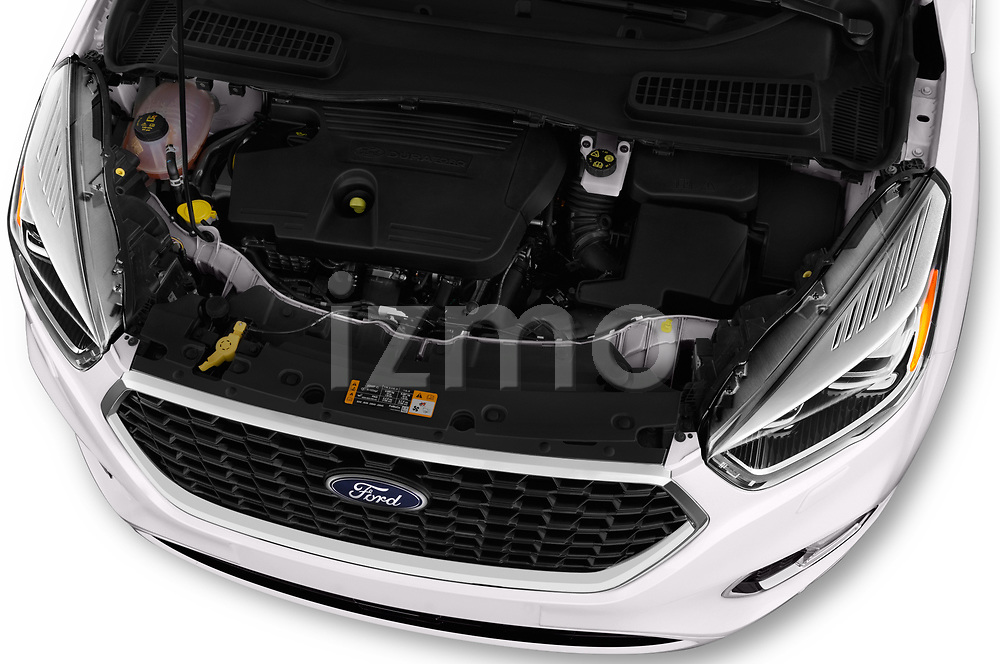 Car stock 2017 Ford Kuga Vignale 5 Door SUV engine high angle detail view