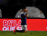 BOGOTA - COLOMBIA, 27-11-2020: Ricardo Marquez de Millonarios F. C. celebra gol anotado a Once Caldas, durante partido entre Millonarios F. C. y Once Caldas de la fecha 1 por la Liguilla BetPlay DIMAYOR 2020 jugado en el estadio Nemesio Camacho El Campin de la ciudad de Bogota. / Ricardo Marquez of Millonarios F. C. celebrates scored goal to Once Caldas, during a match between Millonarios F. C. and Once Caldas of the 1st date for the BetPlay DIMAYOR 2020 Liguilla played at the Nemesio Camacho El Campin Stadium in Bogota city. / Photo: VizzorImage / Luis Ramirez / Staff.