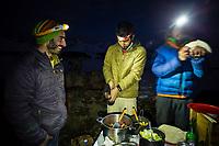 Carlos Lastra, Lucho Birkner, Tomas Contreras enjoying dinner, Valle des los Condores, Chile
