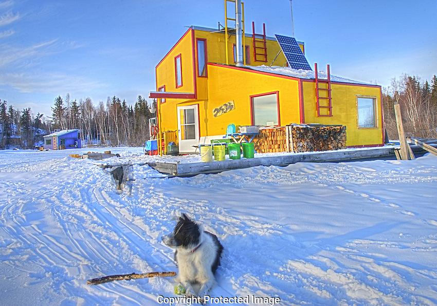 Yellowknife houseboat in winter