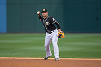 Charlotte Knights second baseman Carlos Sanchez (2) makes a throw to first base against the Norfolk Tides at BB&T BallPark on April 20, 2016 in Charlotte, North Carolina.  The Knights defeated the Tides 6-3.  (Brian Westerholt/Four Seam Images)