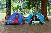 Pictured: Two homeless people, one on the rights is known as Ian, living in tents by Boulevard de Nantes opposite Cardiff City Hall. Wednesday 12 June 2019<br /> Re: Homeless people living in tents in Cardiff, Wales, UK.