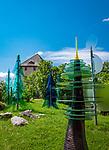 Deutschland, Bayern, Niederbayern, Naturpark Bayerischer Wald, Regen-Weissenstein: Glaesener Wald und Burgruine Weissenstein mit Wohnturm (Museum) | Germany, Bavaria, Lower-Bavaria, Nature Park Bavarian Forest, Regen-Weissenstein: Glassy Forest and castle ruin Weissenstein with residence tower (museum)