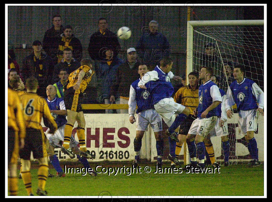 18/01/2003                   Copyright Pic : James Stewart.File Name : stewart-alloa v qots19.STEVE THOMSON RISES AT THE BACK TO HEAD HOME ALLOA'S THIRD GOAL......James Stewart Photo Agency, 19 Carronlea Drive, Falkirk. FK2 8DN      Vat Reg No. 607 6932 25.Office     : +44 (0)1324 570906     .Mobile  : +44 (0)7721 416997.Fax         :  +44 (0)1324 570906.E-mail  :  jim@jspa.co.uk.If you require further information then contact Jim Stewart on any of the numbers above.........