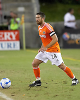 Houston Dynamo defender Wade Barrett sends the ball upfield.  Houston Dynamo beat CD Chivas USA 2-0 at Robertson Stadium in Houston, TX on October 29, 2006 to gain a berth in the Western Conference Final on a 3-2 aggregate.