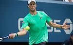 Andreas Seppi (ITA) loses to Novak Djokovic (SRB) 6-3, 7-5, 7-5 at the US Open in Flushing, NY on September 4, 2015.