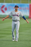 Kristopher Negron (1) of the Tacoma Rainiers before the game against the Salt Lake Bees at Smith's Ballpark on May 27, 2019 in Salt Lake City, Utah. The Bees defeated the Rainiers 5-0. (Stephen Smith/Four Seam Images)