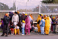 Sikh Families watching East Indian Vaisakhi Parade, Vancouver, BC, British Columbia, Canada - Sikh New Year Celebration