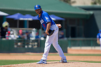 Rancho Cucamonga Quakes starting pitcher Jordan Sheffield (11) looks to first during the game against the Lake Elsinore Storm at LoanMart Field on April 22, 2018 in Rancho Cucamonga, California. The Storm defeated the Quakes 8-6.  (Donn Parris/Four Seam Images)