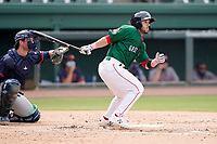 Catcher Elih Marrero (10) of the Greenville Drive during a game against the Bowling Green Hot Rods on Sunday, May 9, 2021, at Fluor Field at the West End in Greenville, South Carolina. The catcher is Erik Ostberg (21). (Tom Priddy/Four Seam Images)