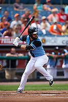 Syracuse Chiefs third baseman Jason Martinson (5) at bat during a game against the Pawtucket Red Sox on July 6, 2015 at NBT Bank Stadium in Syracuse, New York.  Syracuse defeated Pawtucket 3-2.  (Mike Janes/Four Seam Images)