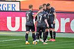 Team-Jubel zum tor. Dennis Borkowski (#19, 1. FC Nürnberg), Fabian Nürnberger (#15, 1. FC Nürnberg), Robin Hack (#17, 1. FC Nürnberg), Johannes Geis (#5, 1. FC Nürnberg), , Nürnberg, Deutschland, 27 April, 2021. Max Morlock Stadion, beim Spiel in der 2. Bundesliga, 1. FC Nürnberg - Holstein Kiel    <br /> <br /> Foto © PIX-Sportfotos *** Foto ist honorarpflichtig! *** Auf Anfrage in hoeherer Qualitaet/Aufloesung. Belegexemplar erbeten. Veroeffentlichung ausschliesslich fuer journalistisch-publizistische Zwecke. For editorial use only. DFL regulations prohibit any use of photographs as image sequences and/or quasi-video.
