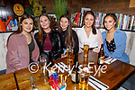 Emma Carmody, Grace Fitzmaurice, Laura Scanlon, Mary O'Connell and Doireann Thomas enjoying the evening in Benners Hotel on Saturday.
