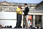 Raymond Poulidor on stage at the team presentation before the 2018 Paris-Roubaix. 7th April 2018.<br /> Picture: ASO/Pauline Ballet | Cyclefile<br /> <br /> <br /> All photos usage must carry mandatory copyright credit (© Cyclefile | ASO/Pauline Ballet)