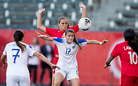 CARSON, CA - FEBRUARY 07: Shelina Zadorsky #4 of Canada defending against Lixy Rodriguez #12 of Costa Rica during a game between Canada and Costa Rica at Dignity Health Sports Park on February 07, 2020 in Carson, California.