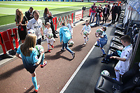 Swansea Child Match Mascots prior to kick off of the Premier League match between Swansea City and Stoke City at The Liberty Stadium, Swansea, Wales, UK. Saturday 22 April 2017
