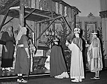 Pittsburgh PA: View of the Christmas play; the birth of baby Jesus, at the First Luthern Church on Grant Street in Pittsburgh.  Members of the congregation donned period clothing the recreate Christmas night 1958 years earlier.  The 3 wise men giving gifts to baby Jesus.