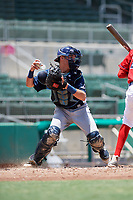 GCL Rays catcher Dawson Dimon (44) throws to second base during a game against the GCL Red Sox on August 1, 2018 at JetBlue Park in Fort Myers, Florida.  GCL Red Sox defeated GCL Rays 5-1 in a rain shortened game.  (Mike Janes/Four Seam Images)