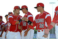 Batavia Muckdogs second baseman Avery Romero #13 fits bumps Felix Castillo #30 during introductions before a game against the Auburn Doubledays on June 18, 2013 at Dwyer Stadium in Batavia, New York.  Batavia defeated Auburn 10-2.  (Mike Janes/Four Seam Images)
