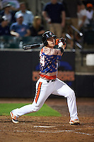 Aberdeen Ironbirds first baseman Steve Laurino (56) at bat during a game against the Tri-City ValleyCats on August 6, 2015 at Ripken Stadium in Aberdeen, Maryland.  Tri-City defeated Aberdeen 5-0 in a combined no-hitter.  (Mike Janes/Four Seam Images)