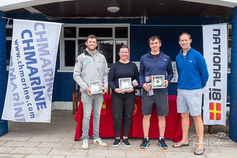 Second overall - Patrick Crosbie (second from right) sailing with his sister Chloe and Paris 2024 Olympic 49er campaigner Seafra Guilfoyle