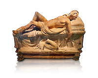 Etruscan funerary monument  known as  Adonis Dying, late 3rd century BC, made of terracotta and discovered near Tuscania, inv 14147, The Vatican Museums, Rome. White Background. For use in non editorial advertising apply to the Vatican Museums for a license.