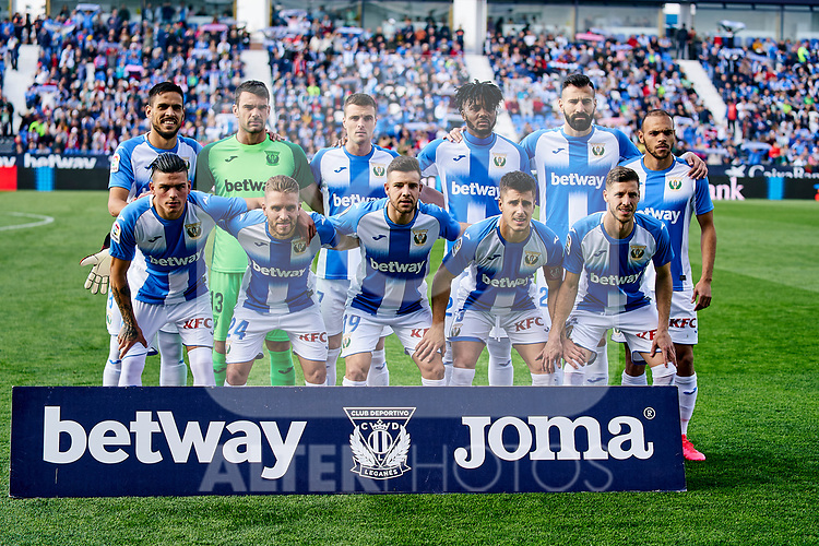 Team photo of CD Leganes during La Liga match between CD Leganes and Real Betis Balompie at Butarque Stadium in Leganes, Spain. February 16, 2020. (ALTERPHOTOS/A. Perez Meca)