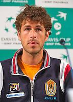 12-09-12, Netherlands, Amsterdam, Tennis, Daviscup Netherlands-Swiss, Press-conference Netherlands, Robin Haase.