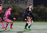 Aalst's Valentine Hannecart pictured with Julie Challe (12 Charleroi) during a female soccer game between Sporting Charleroi and Eendracht Aalst on the 8th  matchday of the 2020 - 2021 season of Belgian Scooore Womens Super League , friday 20 th of November 2020  in Marcinelle , Belgium . PHOTO SPORTPIX.BE | SPP | DAVID CATRY