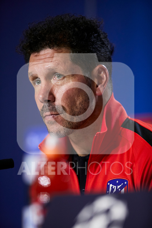 Diego Pablo Simeone during the Press Conference before the UEFA Champions League match between Atletico de Madrid and Bayer 04 Leverkusen at Wanda Metropolitano Stadium in Madrid, Spain. October 21, 2019. (ALTERPHOTOS/A. Perez Meca)