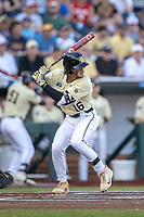 Vanderbilt Commodores third baseman Austin Martin (16) at bat against the Michigan Wolverines during Game 3 of the NCAA College World Series Finals on June 26, 2019 at TD Ameritrade Park in Omaha, Nebraska. Vanderbilt defeated Michigan 8-2 to win the National Championship. (Andrew Woolley/Four Seam Images)