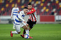 Ilias Chair of Queens Park Rangers shakes off a challenge from Brentford's Emiliano Marcondes during Brentford vs Queens Park Rangers, Sky Bet EFL Championship Football at the Brentford Community Stadium on 27th November 2020