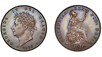BNPS.co.uk (01202) 558833<br /> Pic: DNW/BNPS<br /> <br /> Pictured: Copper King - George IV 1826 coin sold for £1,180.<br /> <br /> A remarkable single-owner collection of over 200 historic British coins spanning eight monarchs has sold for a staggering £353,000.<br /> <br /> Ian Sawden amassed an array of coinage from the Georgian, Victorian and Edwardian periods, with the latest examples struck during George VI's reign.<br /> <br /> A 1797 Cartwheel proof gold penny from George III's reign, decorated with a laureate bust wearing a wreath with 10 leaves, fetched £24,800.<br /> <br /> A 1788 gold halfpenny depicting Britannia seated with a spear achieved £27,280, while a 1799 gold halfpenny went for £23,560 and a 1848 Proof Florin coin from Victoria's reign sold for £16,120.