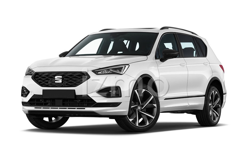 Stock pictures of low aggressive front three quarter view of 2020 Seat Tarraco FR 5 Door SUV Low Aggressive
