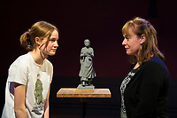 BNPS.co.uk (01202 558833)<br /> Pic: Graham Hunt/BNPS<br /> <br /> Pictured: The scaled-down model of the new statue to honour pioneering palaeontologist Mary Anning. Sculptor Denise Dutton (left) and schoolgirl Evie Swire (Pictured left) <br /> <br /> Campaigners behind a bid to get a statue of palaeontologist Mary Anning built have accused officials of being dinosaurs for jeopardising the project.<br /> <br /> Evie Swire and her mum Anya Pearson set up a charity and fundraised £150,000 for a tribute to the pioneering fossil hunter in her hometown of Lyme Regis, Dorset.<br /> <br /> They had hoped to unveil the statue in May 2022 - the 222nd anniversary of Mary's birth - but they have hit a wall of bureaucracy after Dorset Council said they are too busy to deal with the plans and the statue was 'not a high priority'.