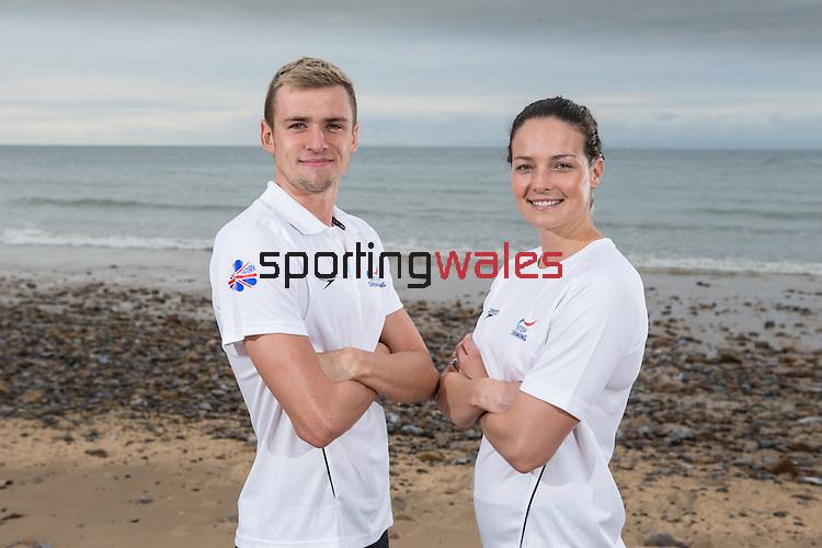Team GB Rio Olympics marathon swimming team.<br /> Jack Burnell & Keri Anne Payne.<br /> Langland Bay<br /> 26.07.16<br /> ©Steve Pope Sportingwales